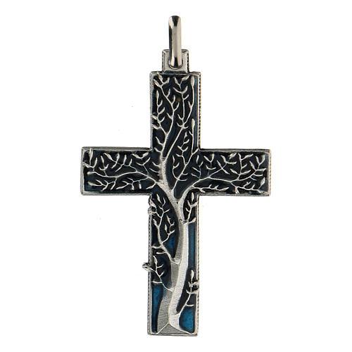 Colgante en forma de cruz con árbol de la vida azul 5 cm zamak 1