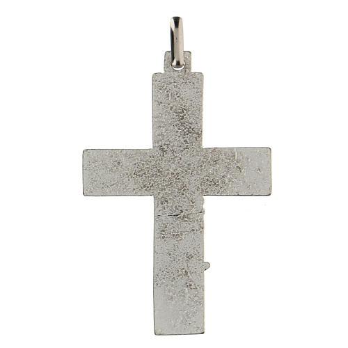 Colgante en forma de cruz con árbol de la vida azul 5 cm zamak 2