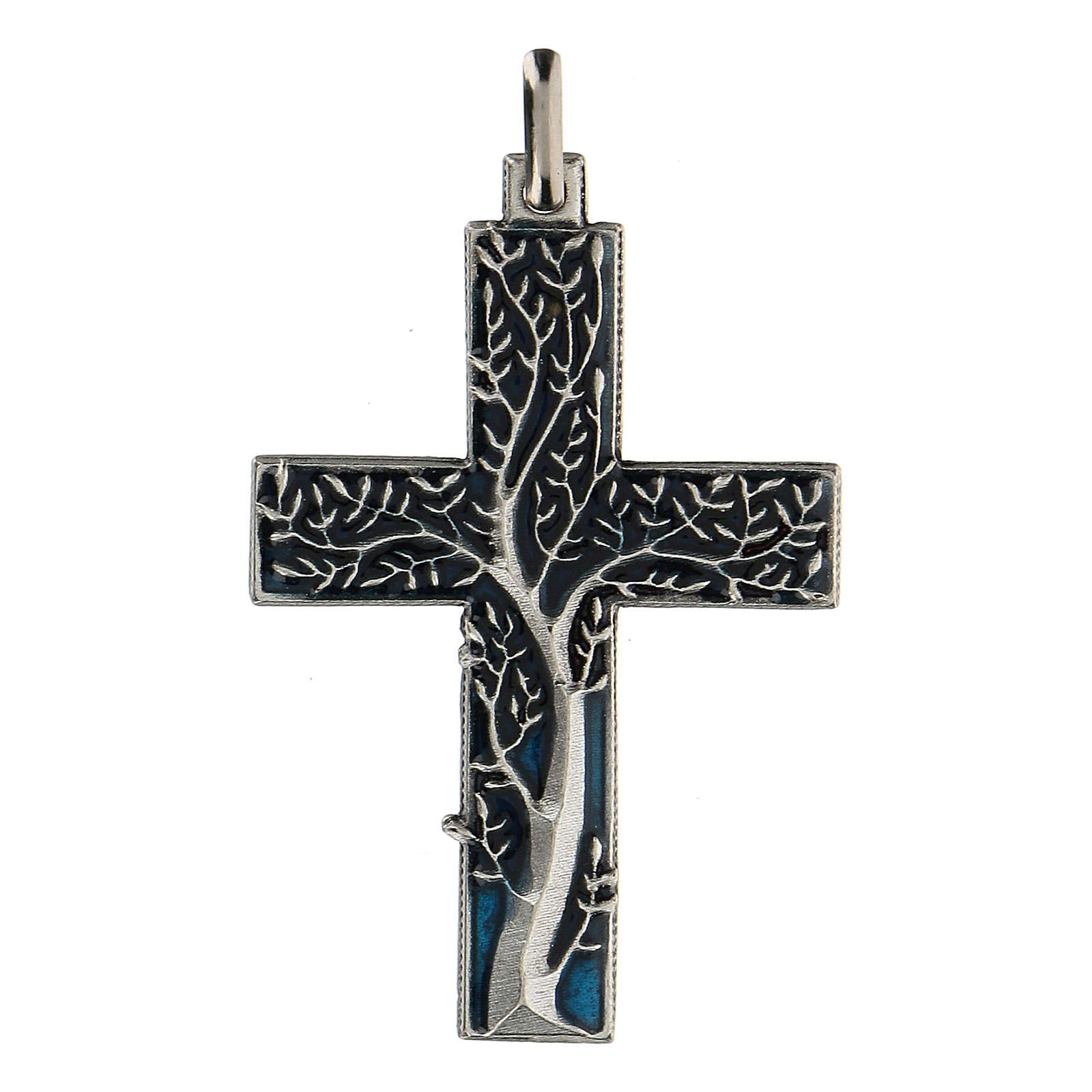 Pendente a forma di croce con albero della vita blu 5 cm zama 4