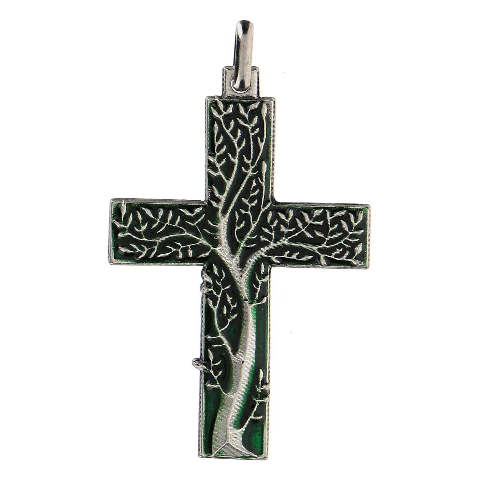 Croix avec arbre de la vie vert 5 cm zamak 4