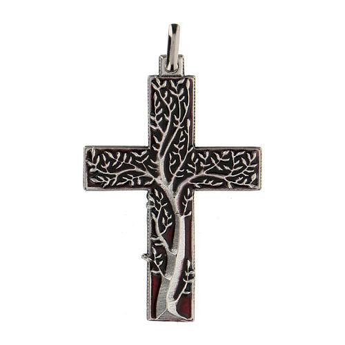Colgante en forma de cruz con árbol de la vida rojo 5 cm zamak 1