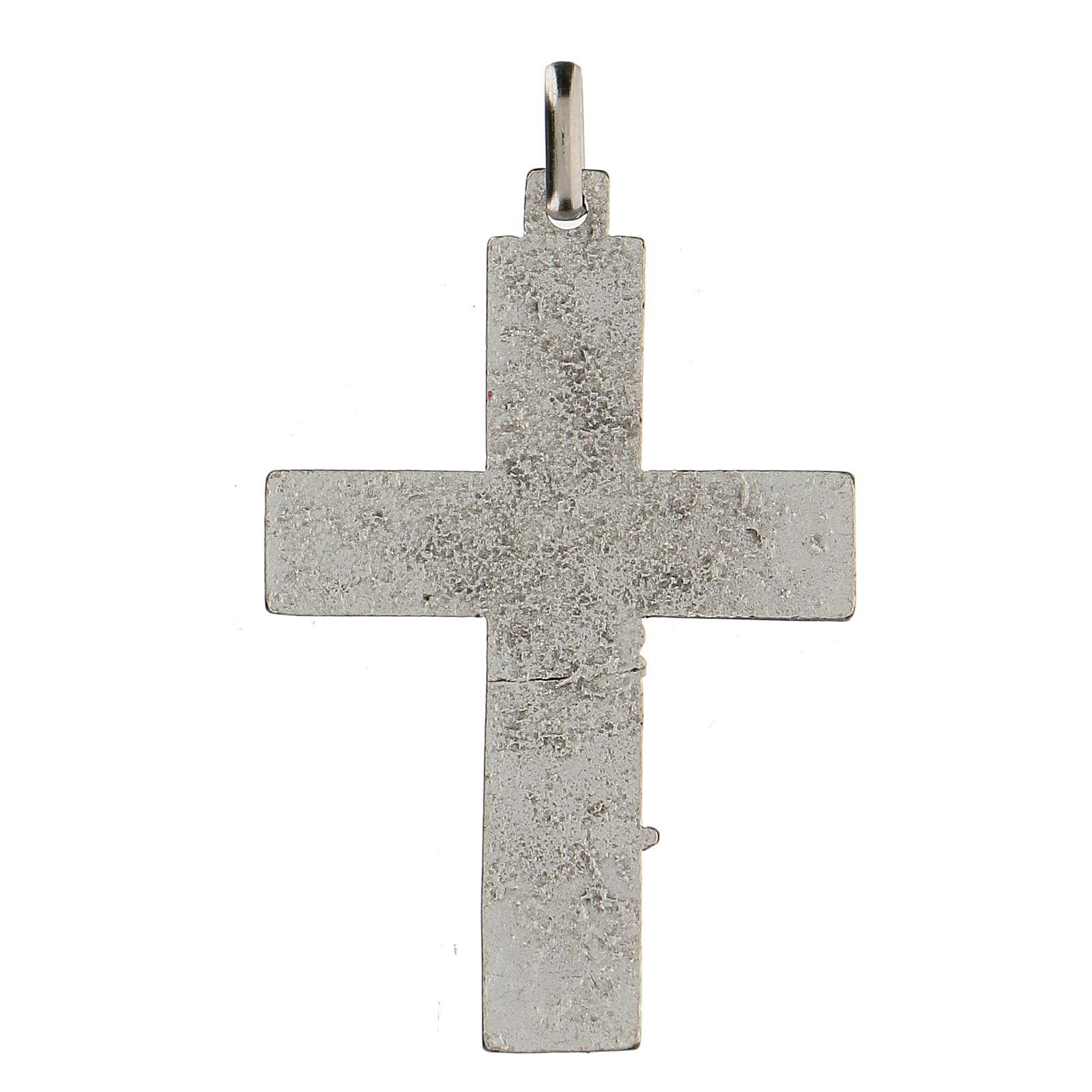 Ciondolo a forma di croce con albero della vita rosso 5 cm zama 4