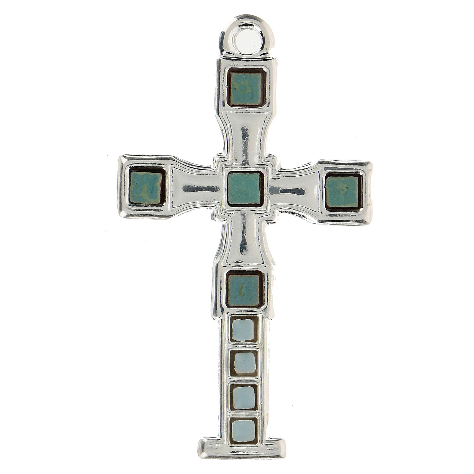 Cruz colgante con mosaico color plata 7 cm zamak 4