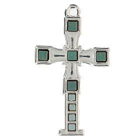 Cruz colgante con mosaico color plata 7 cm zamak s1