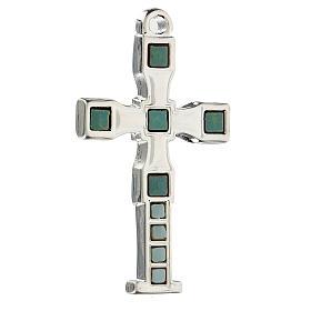 Cruz colgante con mosaico color plata 7 cm zamak s2