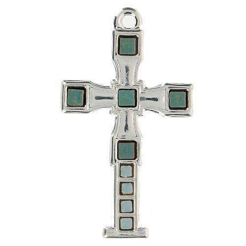 Cruz colgante con mosaico color plata 7 cm zamak 1