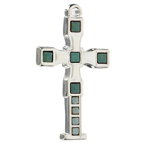 Cruz colgante con mosaico color plata 7 cm zamak 2