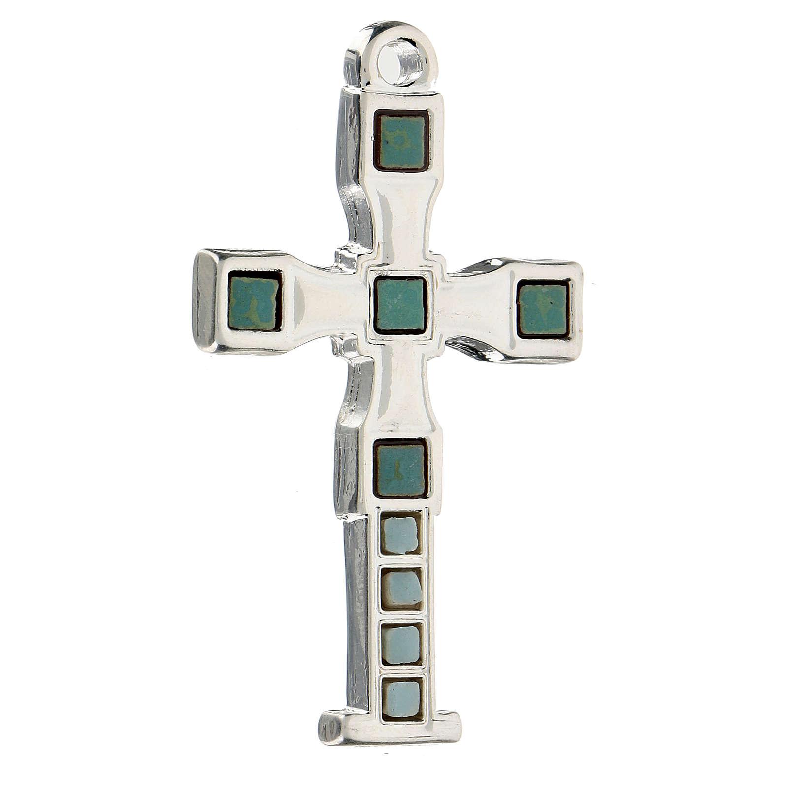 Croce pendete con mosaico color argento 7 cm zama 4