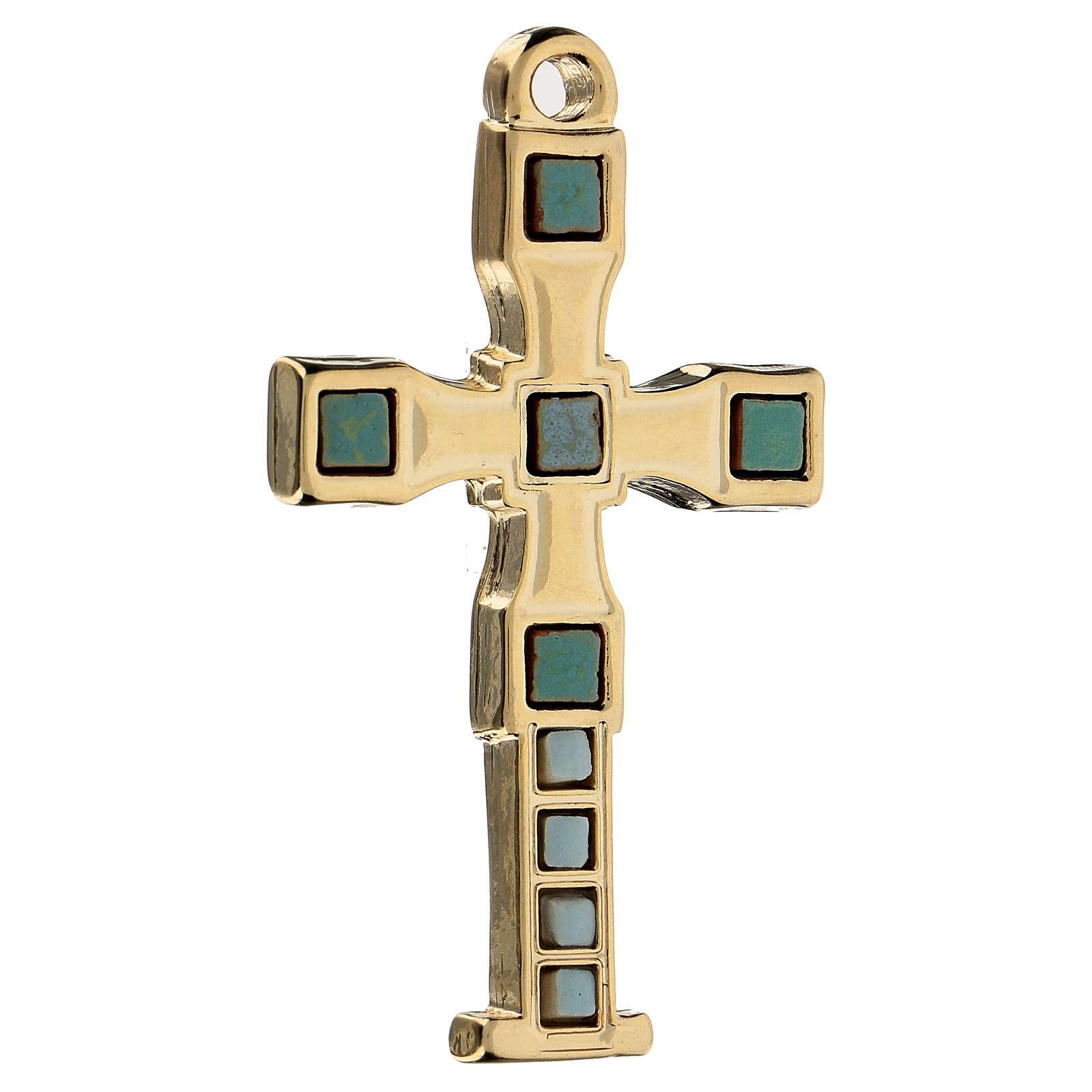 Colgante en forma de cruz con mosaico color oro 7 cm zamak 4