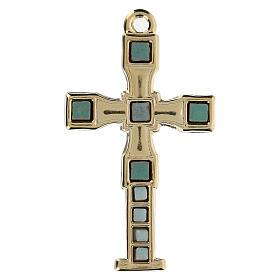 Colgante en forma de cruz con mosaico color oro 7 cm zamak s1