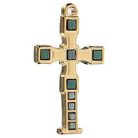 Colgante en forma de cruz con mosaico color oro 7 cm zamak s2