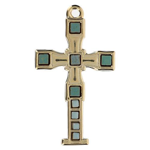 Colgante en forma de cruz con mosaico color oro 7 cm zamak 1