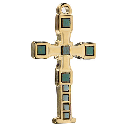 Pendete a croce con mosaico color oro 7 cm zama 2