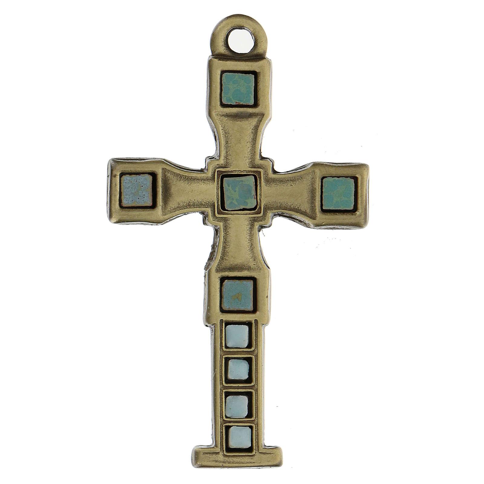 Cruz colgante con mosaico color bronce envejecido 7 cm zamak 4