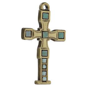 Cruz colgante con mosaico color bronce envejecido 7 cm zamak s2