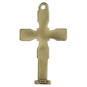 Cruz colgante con mosaico color bronce envejecido 7 cm zamak s3