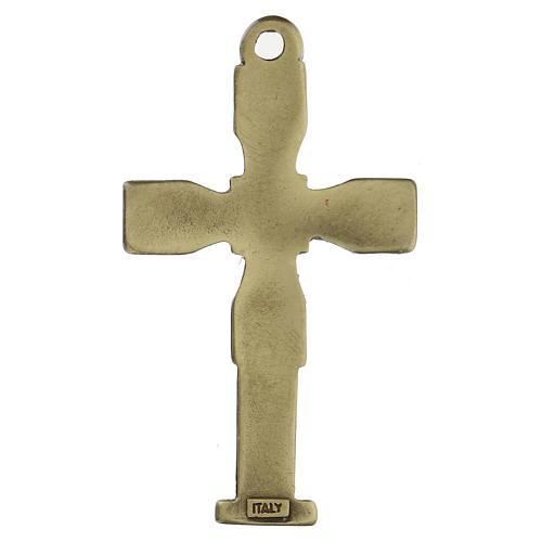 Cruz colgante con mosaico color bronce envejecido 7 cm zamak 3