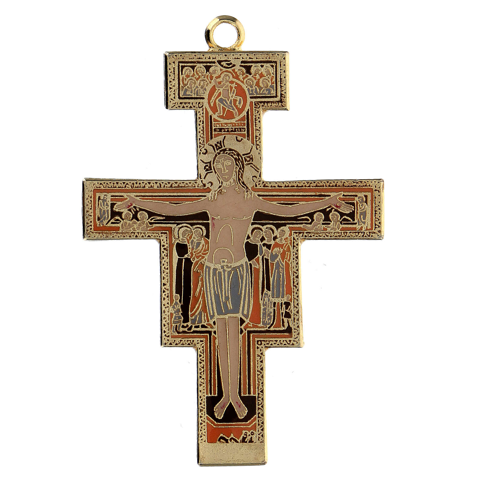 Cross pendant St. Damian coloured enamel 4