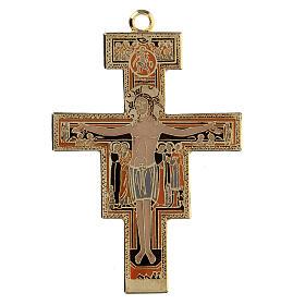 San Damiano crucifix cross pendant, colored enamel s1