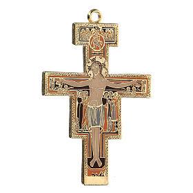 San Damiano crucifix cross pendant, colored enamel s2