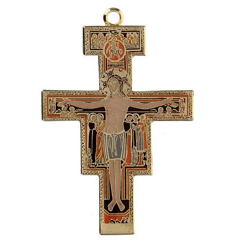 San Damiano crucifix cross pendant, colored enamel 1