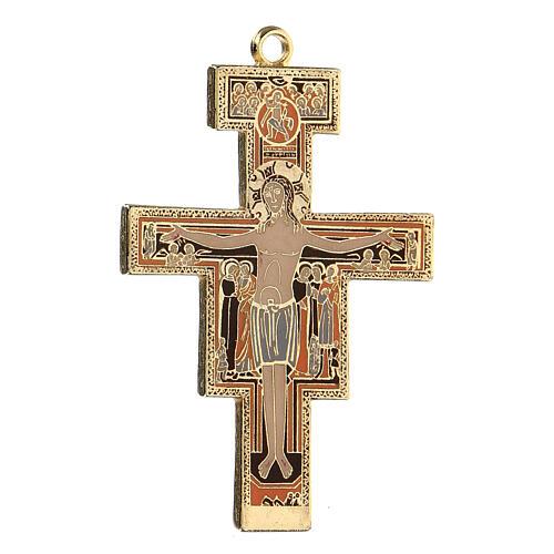 San Damiano crucifix cross pendant, colored enamel 2
