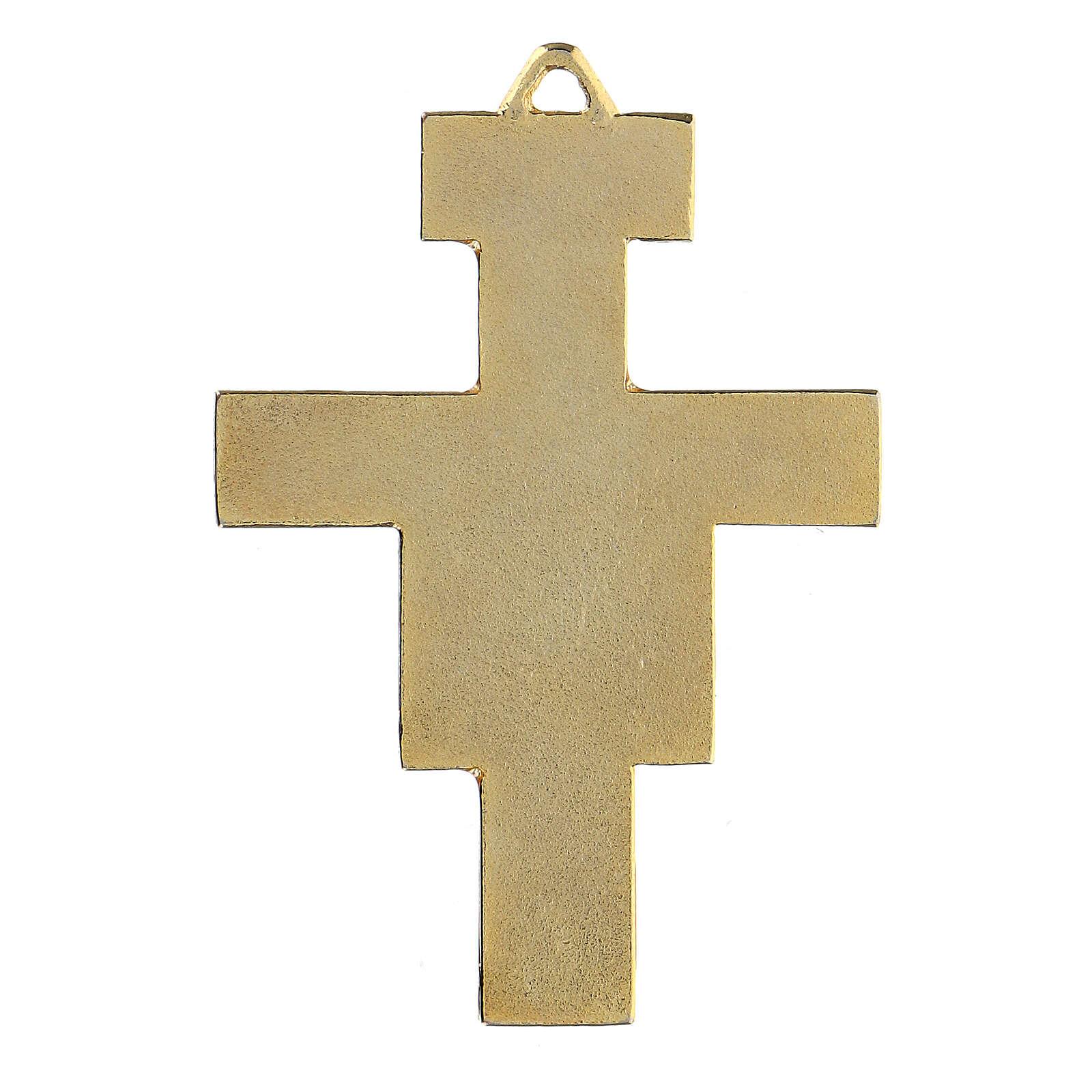 Pingente Cruz São Damião zamak dourado e esmaltes coloridos 4