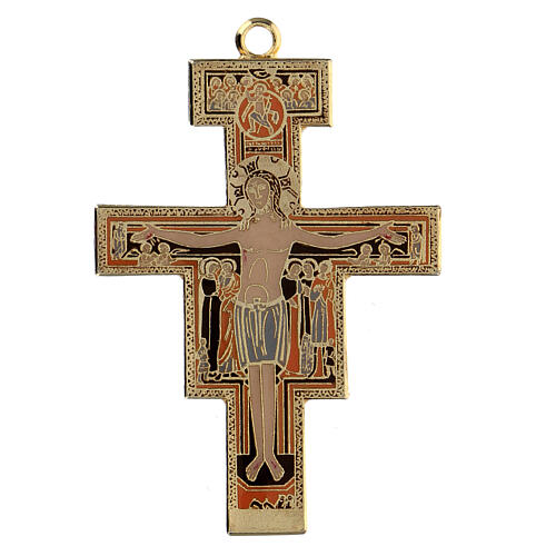 Cross pendant St. Damian coloured enamel 1