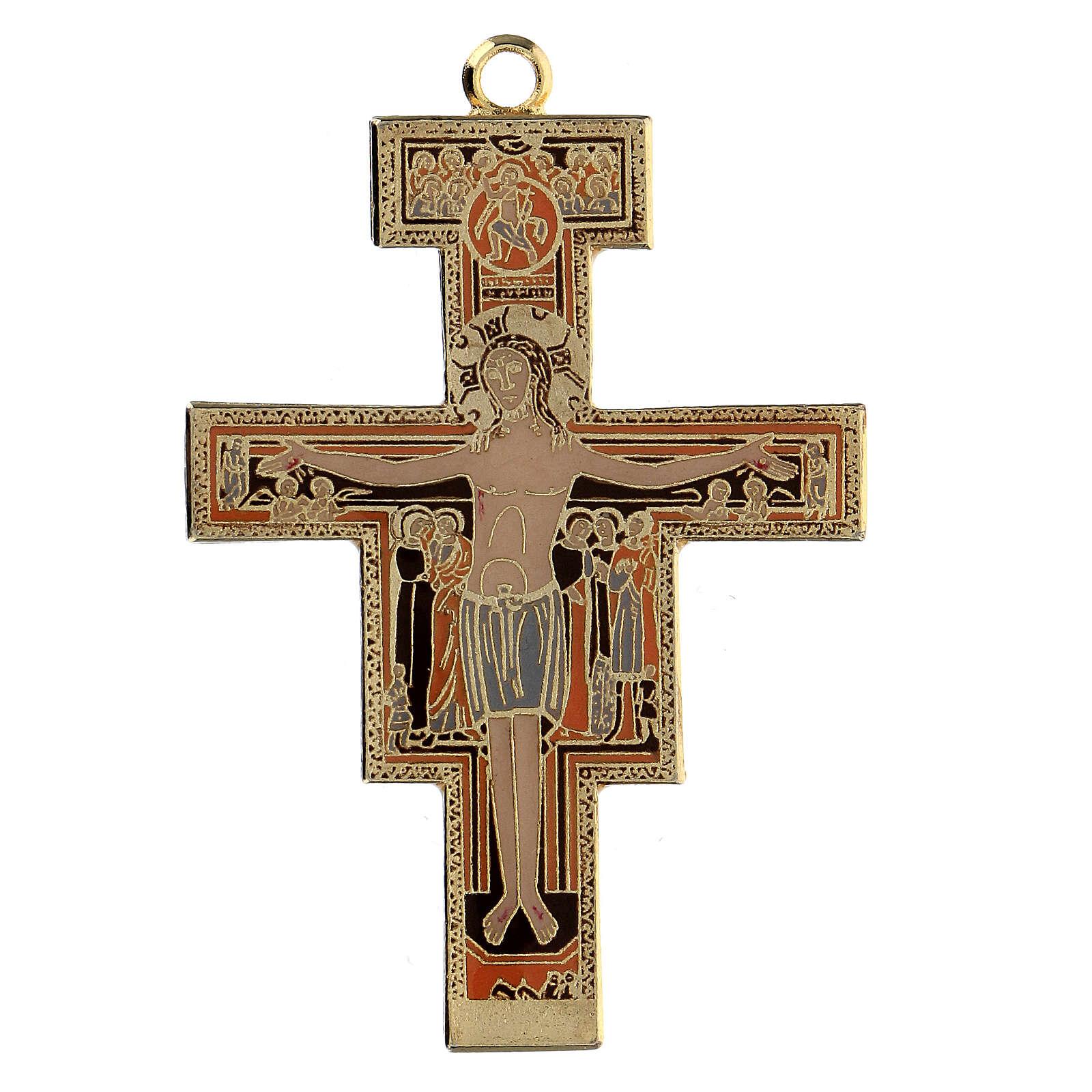 Croix pendentif St Damien dorée 4