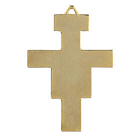 Croix pendentif St Damien dorée s3