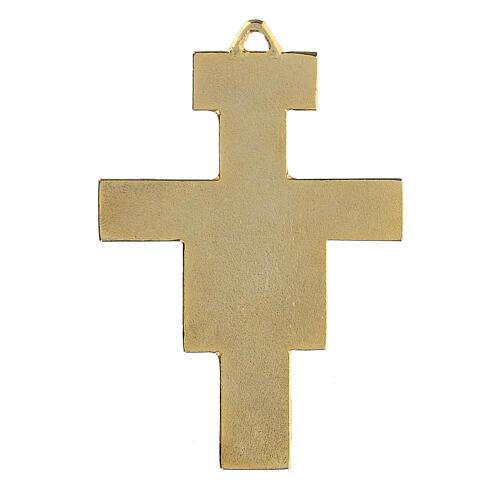 Croix pendentif St Damien dorée 3