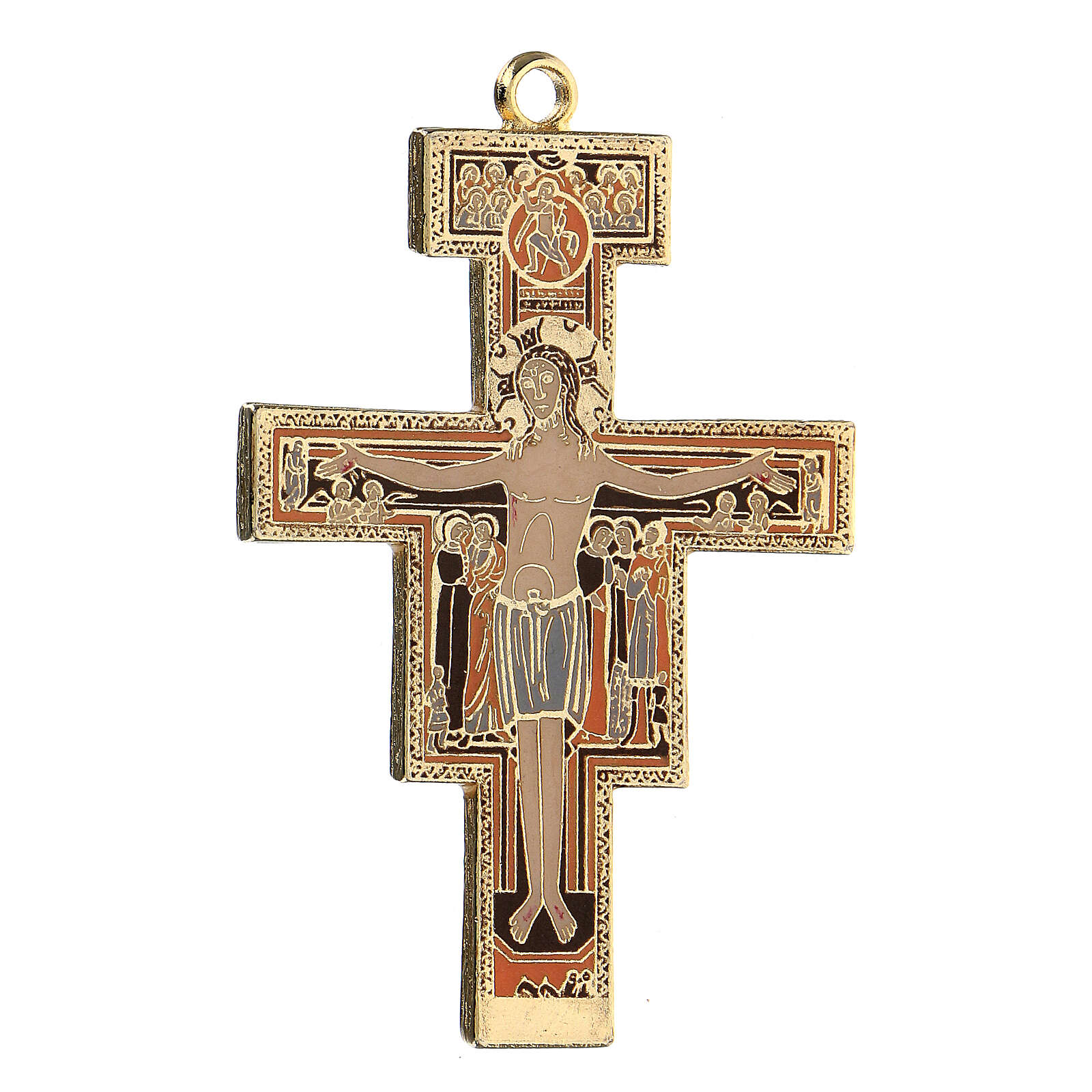 Croce pendente S. Damiano dorata 4