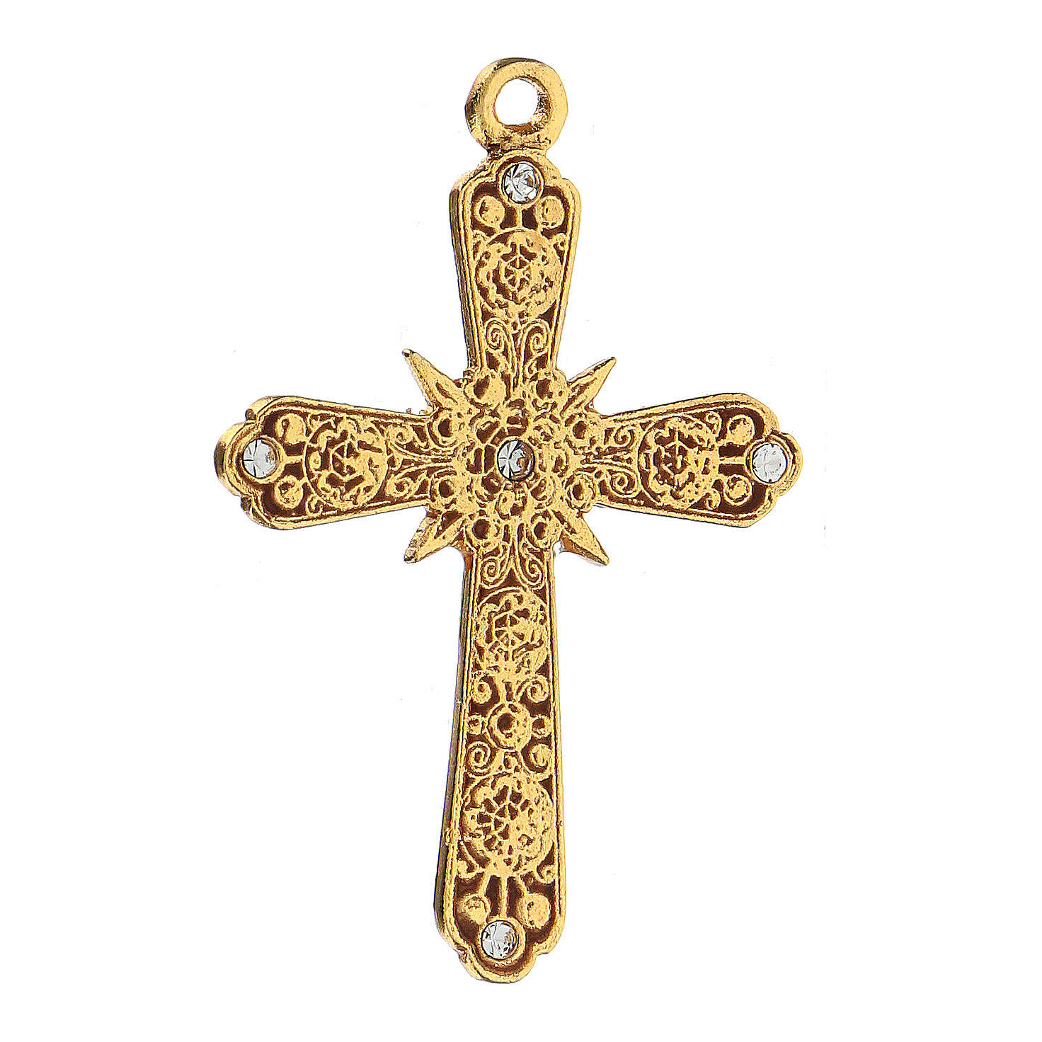 Golden cross pendant with Swarovski rhinestones 4