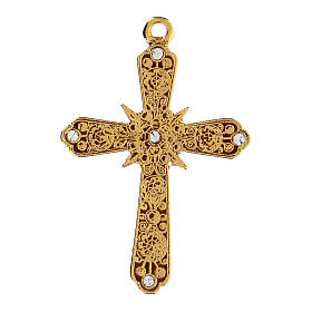 Golden cross pendant with Swarovski rhinestones s1