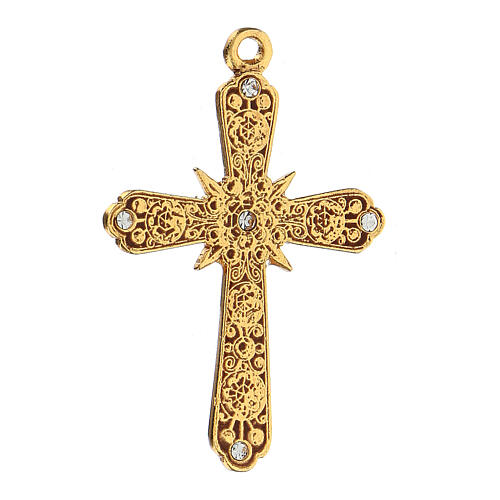 Golden cross pendant with Swarovski rhinestones 2