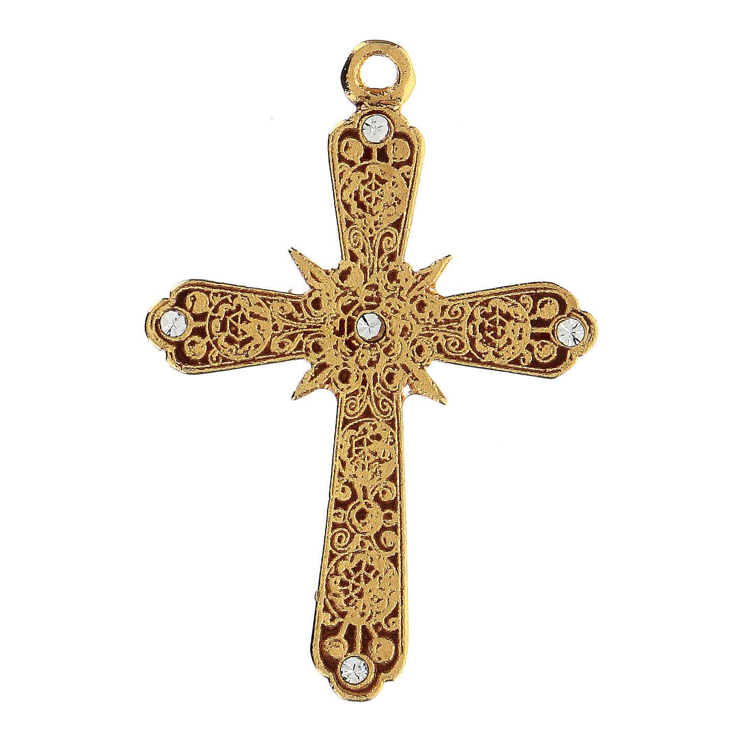 Krzyż zawieszka pozłacana strass Swarovskiego 4