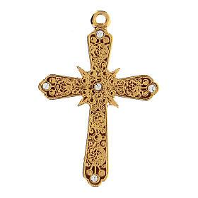 Krzyż zawieszka pozłacana strass Swarovskiego s1