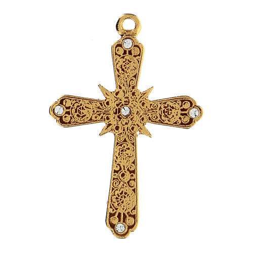 Krzyż zawieszka pozłacana strass Swarovskiego 1