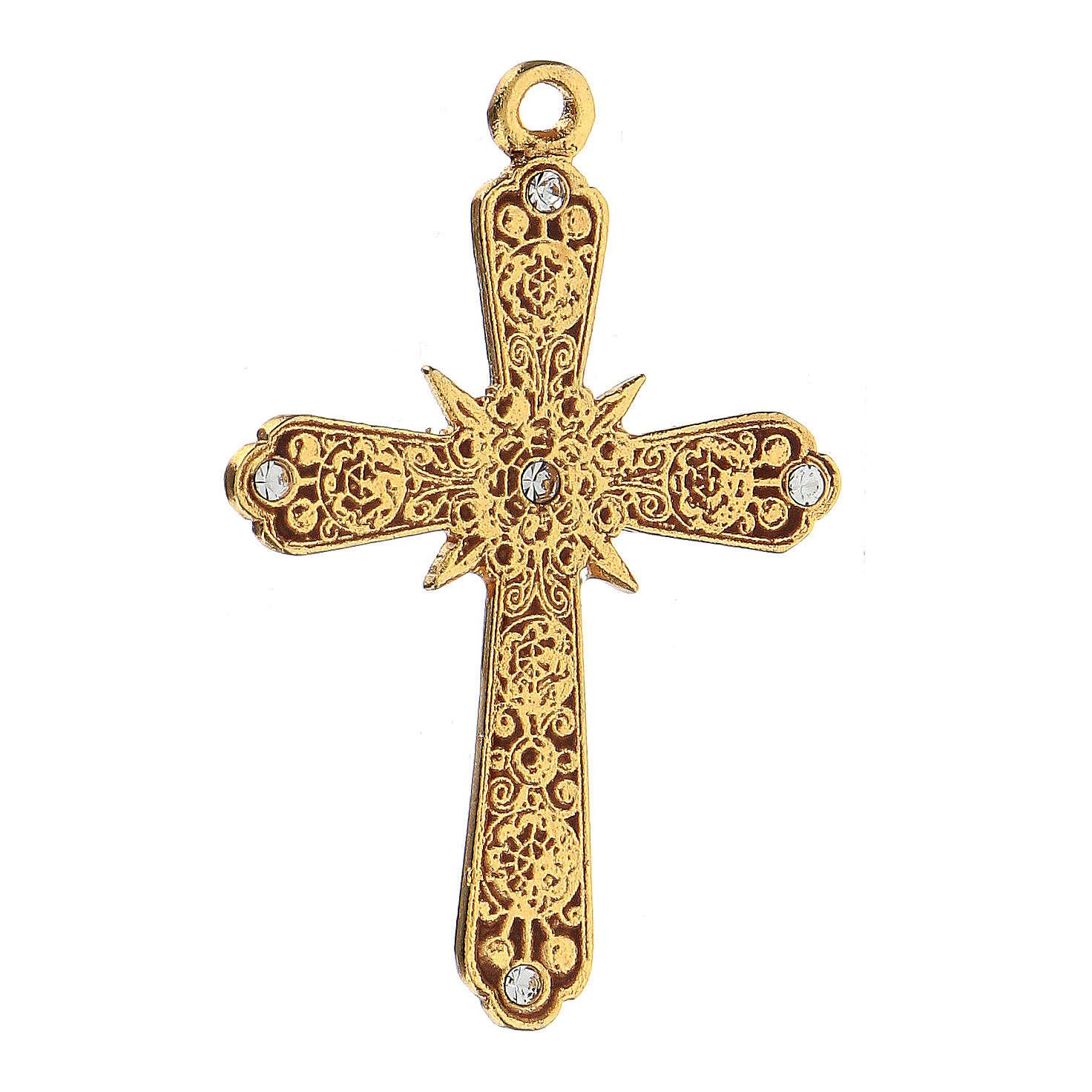 Pingente cruz dourada cristais Swarovski 4