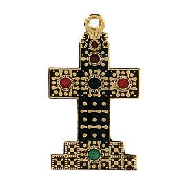 Colgante cruz zamak dorada con motivos s1