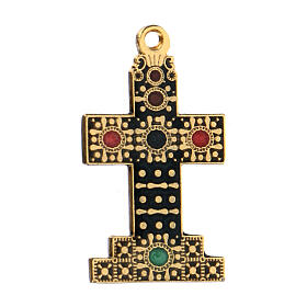 Pendentif croix zamak doré avec décorations s2