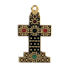 Pendente croce zama dorata con decori s1