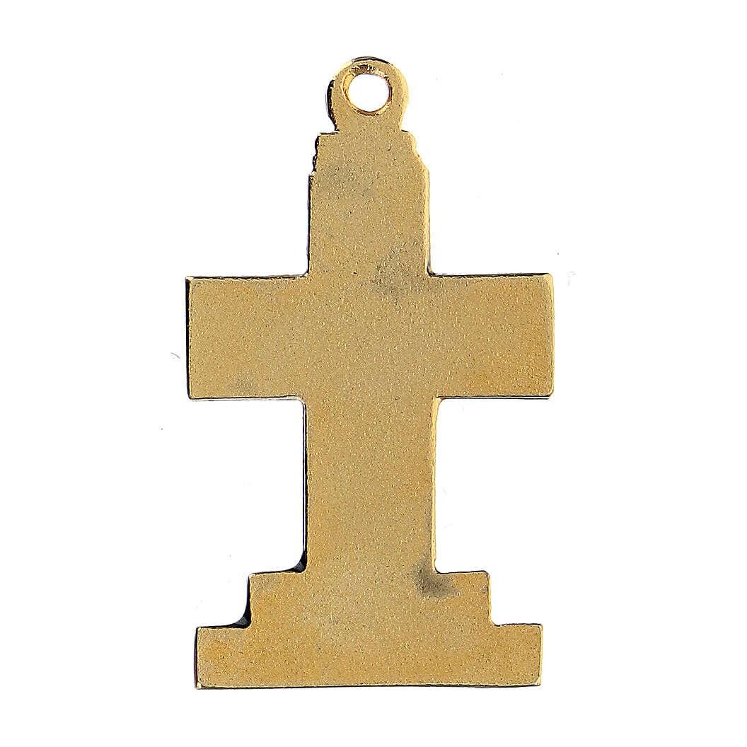 Pingente cruz dourada zamak com decorações 4