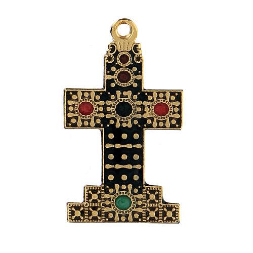 Pingente cruz dourada zamak com decorações 1