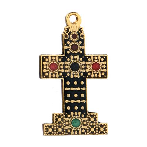 Pingente cruz dourada zamak com decorações 2