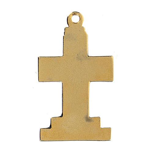 Pingente cruz dourada zamak com decorações 3