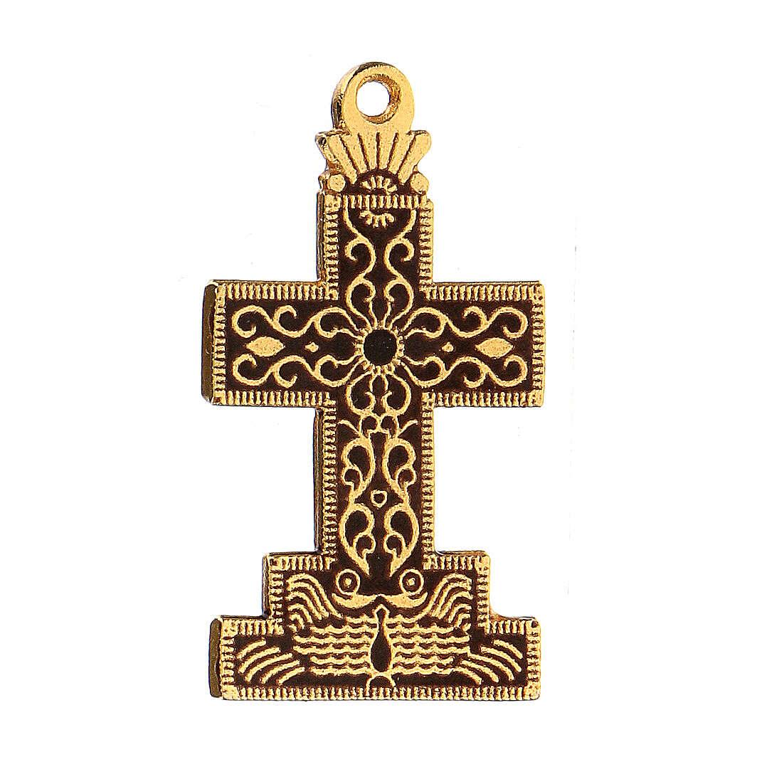 Cruz colgante con fondo y motivos esmaltados 4