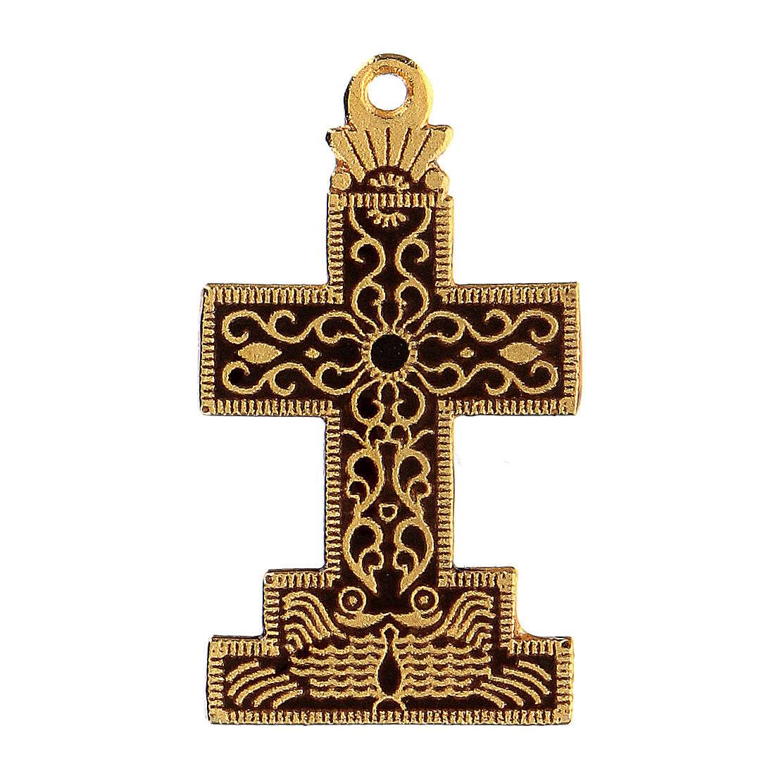 Croce pendente con sfondo e decori smaltati 4