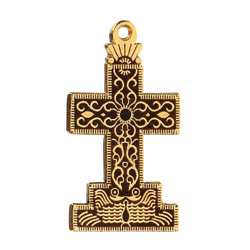 Croce pendente con sfondo e decori smaltati 2