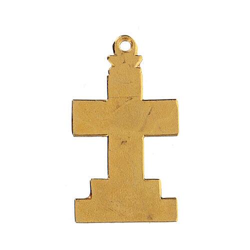 Croce pendente con sfondo e decori smaltati 3